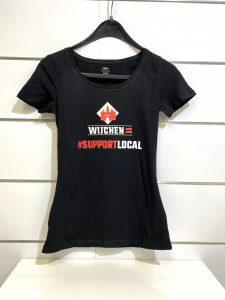 Dames t-shirt zwart / rood support local- Wijchen=