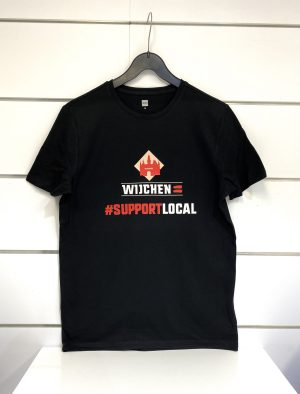 Heren t-shirt zwart / rood support Local - Wijchen=