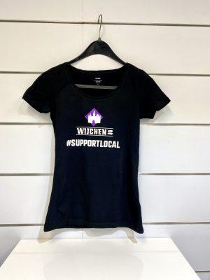 Dames t-shirt zwart / paars support local- Wijchen=