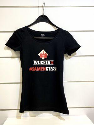 Dames t-shirt zwart / rood samen sterk Wijchen=